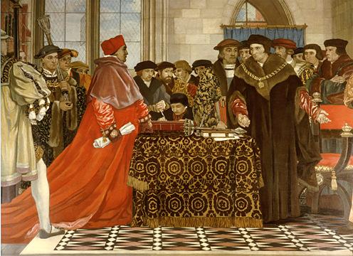 """Detalle de """"Tomás Moro defendiendo la libertad de la Cámara de los Comunes"""" ante el cardenal Wolsey. Óleo de Vivian Forbes, (1927), St Stephen's Hall, Parlamento Inglés, Londres (Inglaterra)."""