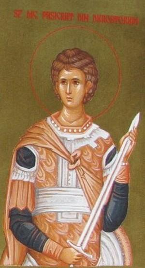 Icono ortodoxo rumano de San Pasícrates, mártir de Escitia Menor.