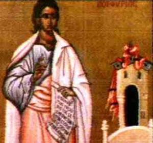 Detalle del Santo en un icono ortodoxo griego.
