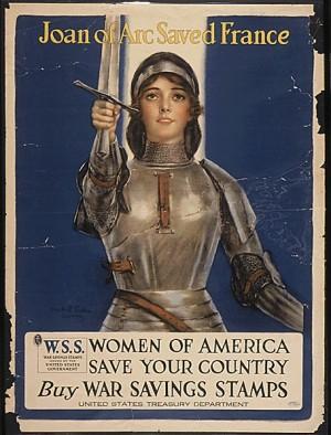 Hasta día de hoy, Juana de Arco sigue siendo una figura referente con un simbolismo heroico muy particular. Cartel americano de la II Guerra Mundial.