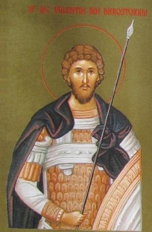 Icono ortodoxo rumano de San Valentín, mártir de Escitia Menor.