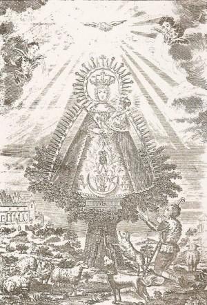 Estampa de la verdadera y prodigiosa imagen de la Virgen, la más difundida, en la que se muestra el milagro de la aparición. Grabado del siglo XIX.