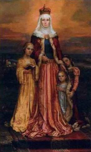 Pintura contemporánea de la Beata, todavía en atuendo de princesa, y rodeada de sus tres hijas.