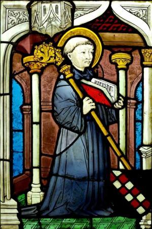 Detalle del Santo en una vidriera de 1450. Musèe de Cluny, Francia.