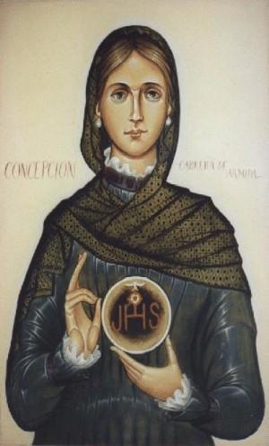 Icono de la Venerable, imitando el canon bizantino.