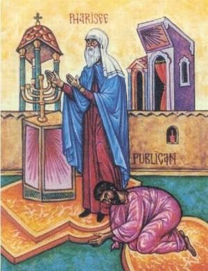 Icono ortodoxo que representa la parábola de Jesús sobre la oración del fariseo y la del publicano.