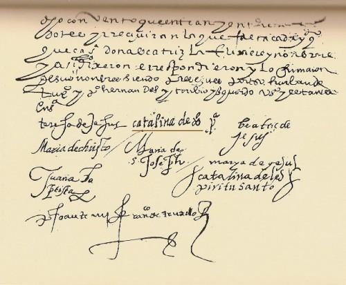 Firma de la Madre Catalina ( subrayada), que es la primera firma de la Venerable como priora del convento de Soria, fundado el 14 de agosto de 1581.