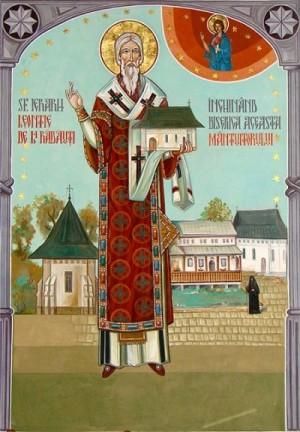 Icono ortodoxo rumano del Santo, en su atuendo episcopal y el monasterio de Bogdana al fondo.