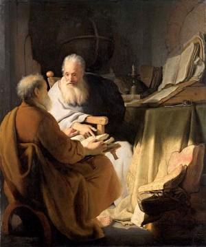 Disputa de San Pedro y San Pablo en Antioquía, tras finalizar el concilio de Jerusalén. Óleo de  Rembradnt.