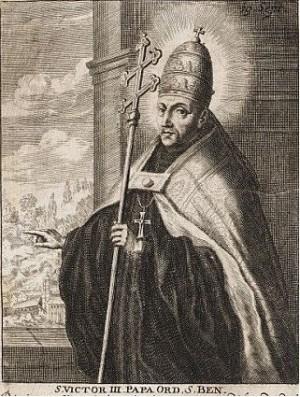 El papa Beato Víctor III en un antiguo grabado. Abajo aparece la S. de Santo debido al culto antiquisimo que entre los benedictinos se le ha tenido y que fue confirmado por León XIII.