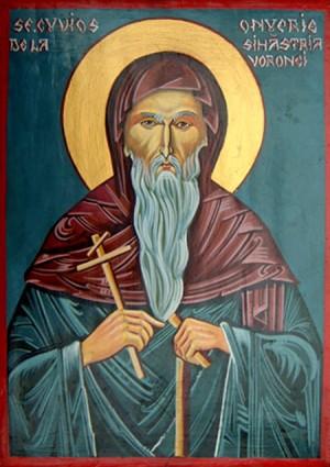 Icono ortodoxo rumano de San Onofre de Sihastria Voronei.