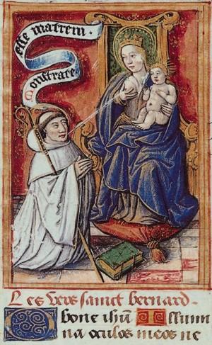 Lactación mística del Santo. Iluminación gótica en un Libro de Horas medieval.