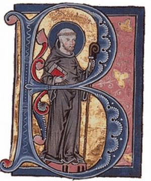 Miniatura del Santo en la inicial de su nombre, códice manuscrito del s.XIII.