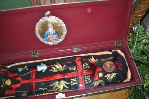 Detalle del cuerpo de San Onofre de Vorona en el interior de la urna.