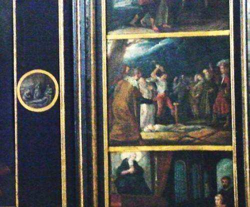 Detalle del martirio de la Beata -enterrada viva y atravesada por una estaca- en el retablo de la Virgen Dolorosa en Woluwe, Bélgica.