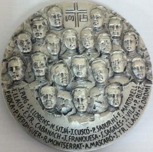 Medalla contemporánea de los mártires (anverso), realizada con ocasión de su inminente beatificación.