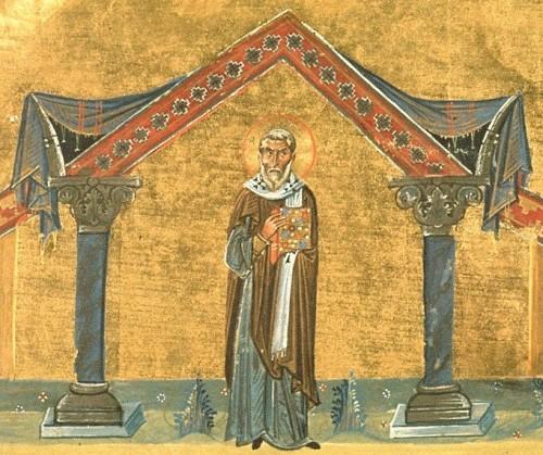 Iluminación de San Agatón en el Menologio de Basilio II, s. X. Biblioteca Apostólica Vaticana, Roma (Italia).