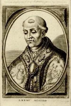 Grabado barroco de San Agatón, con las insignias pontificales.