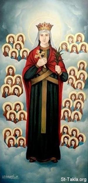 Santa Damiana y compañeras mártires de Egipto. Lienzo de Samy Hennes. Catedral  del monasterio de San Menas, Alejandría (Egipto).