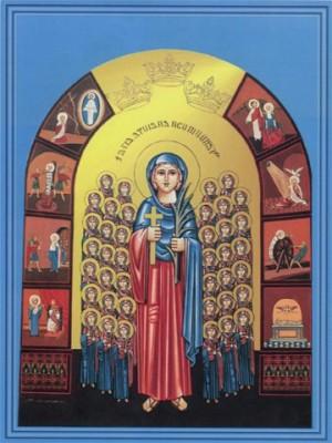 Icono ortodoxo copto de las mártires. A su alrededor, secuencia del martirio de Santa Damiana.