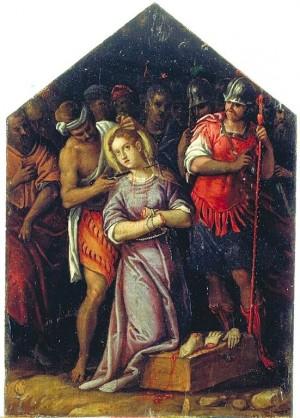 """Martirio de la Santa, obra de Giuseppe Mazzuoli (""""Il Bastarolo""""), Museo de Arte de Rávena (Italia)."""