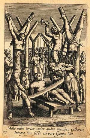 Martirio de Santa Tárbula y compañeras. Grabado de Adriaen Collaert (1608) para Triumphus Jesu Christi Crucifixi, del P. Bartolomeo Ricci SJ. Kirishitan Bunko, Sophia University, Tokyo, Japón.