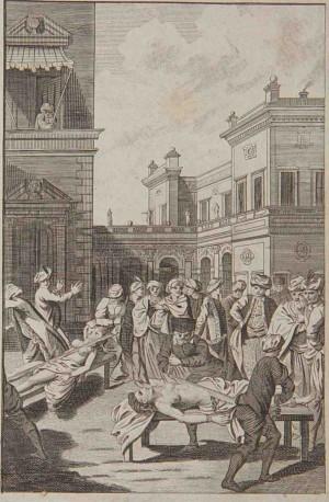 Martirio de Santa Tárbula y su hermana. Grabado de Alexander Hogg. (c. 1780). Wellcome Library, Londres, Reino Unido.