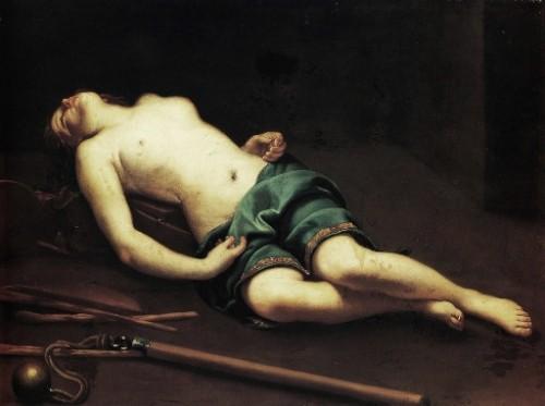 """""""Joven mártir muerta: Santa Mustiola"""", lienzo de Guido Cagnacci que representa a la Santa tras el martirio. Museo Fabre, Montpellier (Francia)."""