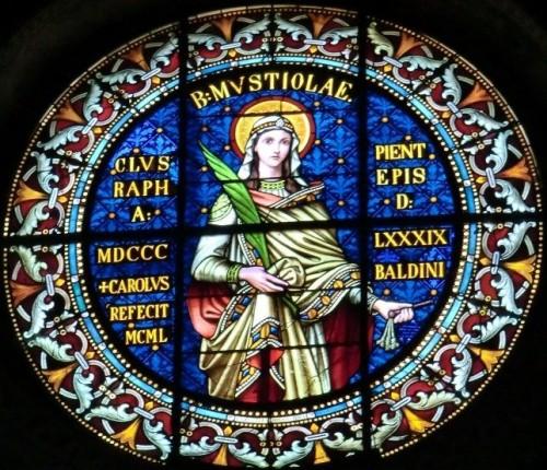 Vidriera decimonónica de la Santa. Catedral de Chiusi, Italia.