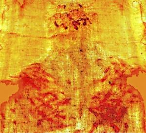 Vista en 3D de las laceraciones en espalda y hombros del Hombre de la Síndone, causadas por el patibulum.