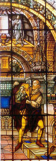 El mercader cretense roba el icono de la Virgen. Vidriera en la iglesia de San Alfonso, Roma (Italia).