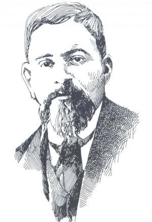 Retrato a lápiz del Santo, inspirado en una fotografía original suya.
