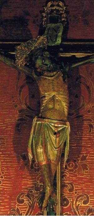 Vista completa del Cristo del Carmen, antes de su restauración en 2006. Capilla de la Comunión, Colegiata de Xàtiva, Valencia (España).