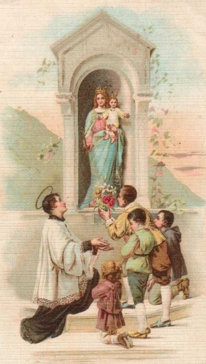 Estampa devocional italiana de San Luis Gonzaga.