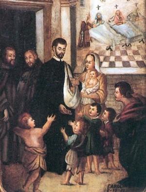 Lienzo del Padre Cristóbal en la fundación del hospital.