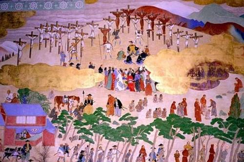 Martirio de los misioneros en Nagasaki. Pintura de Mosén Pedro Garcia Ferer, pintor aragonés de formación valenciana.