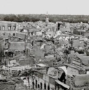 Distrito cristiano de Damasco destrozado en el año 1860.