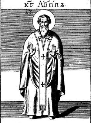 """San Lupo, representado como jerarca, en el """"Acta Sanctorum Augusti Tomus IV""""."""