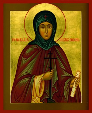 En la iconografía ortodoxa, Santa Eugenia siempre aparece representada como monja. Icono en la Iglesia de la Santa Dormición, Cumberland (EEUU).