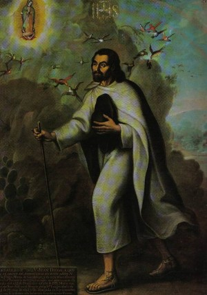 """""""San Juan Diego Cuautlatoatzin"""", óleo de Miguel Cabrera."""