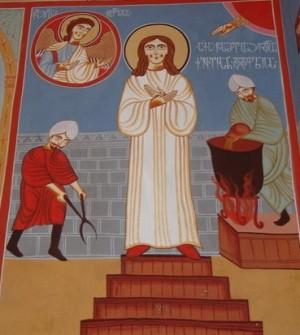 Martirio de la Santa. Fresco ortodoxo georgiano.