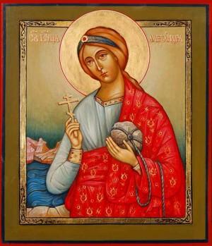 Icono ortodoxo ruso de Santa Alejandra de Ancira, obra de la iconógrafa Ekaterina Piskareva. Fuente: http://www.piskarevarestorations.com/