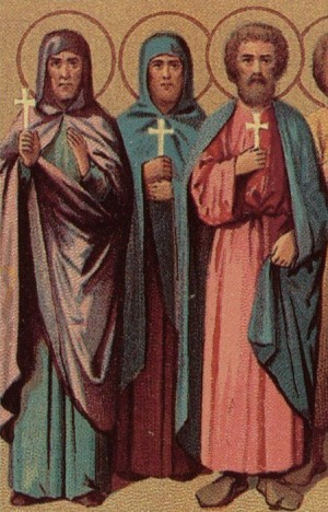 Detalle de los Santos Tecusa, Alejandra y Teódoto de Ancira en un calendario ortodoxo para el Prólogo de Orchid.