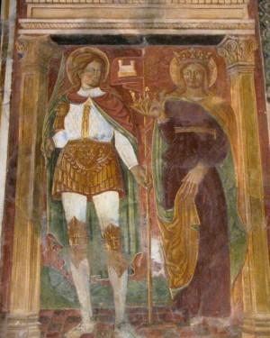 Fresco gótico de los Santos en la abadía de Feltre, Italia.