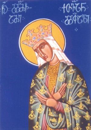 Fresco georgiano representando a la Santa en su atuendo de reina.
