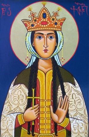 Fresco georgiano de la Santa en su atuendo de reina.