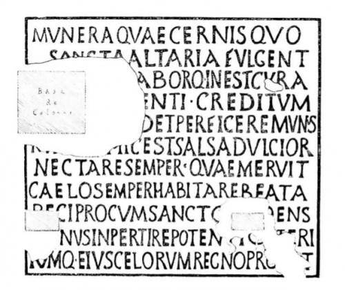 Ilustración de la inscripción dedicada a la mártir Santa Salsa, hallada en su Basílica de Tipasa, Argelia.