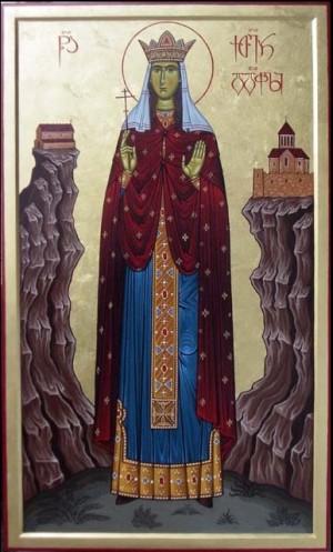 Icono ortodoxo georgiano de la Santa, obra de Shota Tsintsadze.