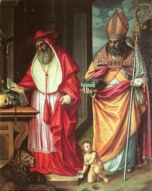 Ilustración 10. San Jerónimo y San Agustín. Sánchez Coello. Monasterio del Escorial.