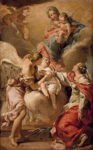 """""""El Ángel Custodio y Santa Justina encomiendan el alma de un niño a la Virgen"""", lienzo de Gaetano Gandolfi (1792-93). Colección privada."""